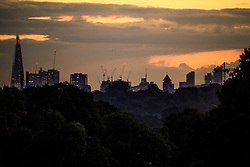 © Licensed to London News Pictures. 09/10/2016. London, UK. The city scape of London seen above trees in Richmond Park at sunrise on an autumn morning. . Photo credit: Ben Cawthra/LNP