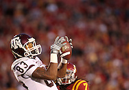 25 OCTOBER 2008: Texas A&M wide receiver Terrence McCoy (83) pulls in a 35 yard touchdown pass in the first half of an NCAA college football game between Iowa State and Texas A&M, at Jack Trice Stadium in Ames, Iowa on Saturday Oct. 25, 2008. Texas A&M beat Iowa State 49-35.