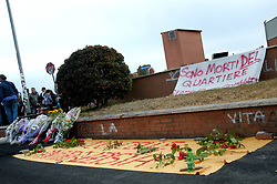 May 10, 2017 - Rome, Italy, Italy - Sit-in to Rome in the place where three gypsy sisters last night died in the rooftop of their camper - stationed in a car park - where they lived with their parents and other 6 brothers who were saved. In a commercial camera video camera, a man faced with an outbreak, throws an incendiary bottle against the camper. Surveys for now have not excluded any track, whether it's vengeance or racial gesture. The garrison took place in the place.Sit-in to Rome in the place where three gypsy sisters last night died in the rooftop of their camper - stationed in a car park - where they lived with their parents and other 6 brothers who were saved. In a commercial camera video camera, a man faced with an outbreak, throws an incendiary bottle against the camper. Surveys for now have not excluded any track, whether it's vengeance or racial gesture. (Credit Image: © Patrizia Cortellessa/Pacific Press via ZUMA Wire)