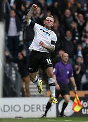 Derby County's Johnny Russell celebrates his goal - Photo mandatory by-line: Matt Bunn/JMP - Tel: Mobile: 07966 386802 -12/04/2014 - SPORT - FOOTBALL - IPRO Stadium- Derby - Derby County v Huddersfield- Sky Bet Championship
