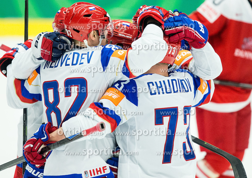 Players of Russia celebrate after scoring third goal for Russia during Ice Hockey match between Russia and Denmark at Day 6 in Group B of 2015 IIHF World Championship, on May 6, 2015 in CEZ Arena, Ostrava, Czech Republic. Photo by Vid Ponikvar / Sportida