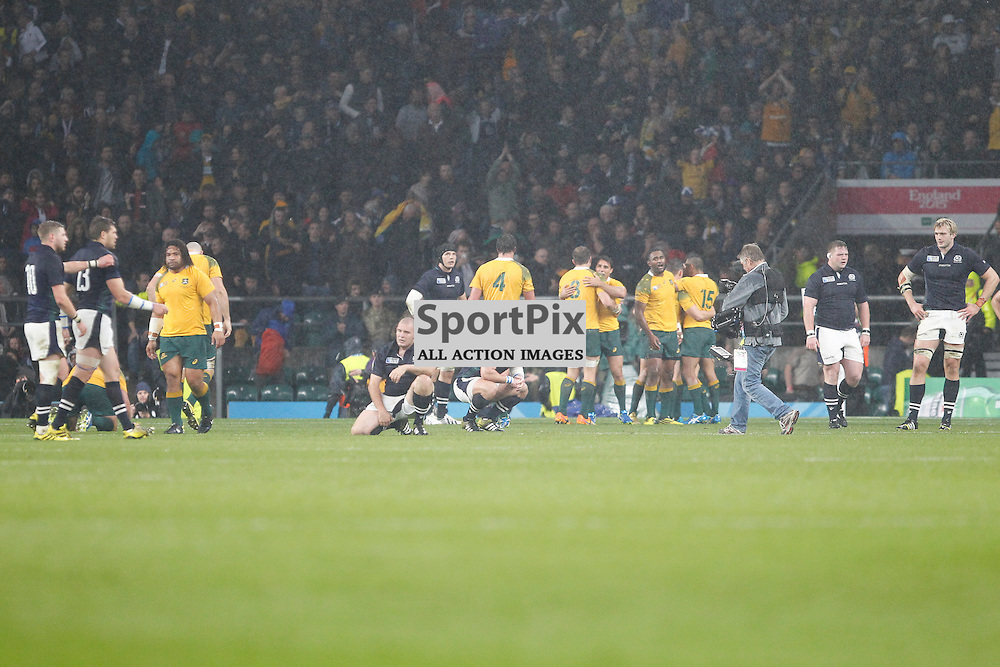 TWICKENHAM, ENGLAND - OCTOBER 18:  The whistle goes Australia win the 2015 Rugby World Cup quarter final between Scotland and Australia at Twickenham Stadium on October 18, 2015 in London, England. (Credit: SAM TODD | SportPix.org.uk)