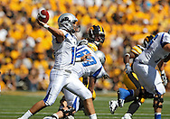 September 4 2010: Eastern Illinois Panthers quarterback Brandon Large (10) throws a pass during the first quarter of the NCAA football game between the Eastern Illinois Panthers and the Iowa Hawkeyes at Kinnick Stadium in Iowa City, Iowa on Saturday September 4, 2010. Iowa defeated Eastern Illinois 37-7.