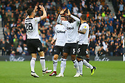 Derby County forward David Nugent (28) scores a goal and celebrates with Derby County's Fikayo Tomori (5) 2-1 during the EFL Sky Bet Championship match between Derby County and Brentford at the Pride Park, Derby, England on 22 September 2018.