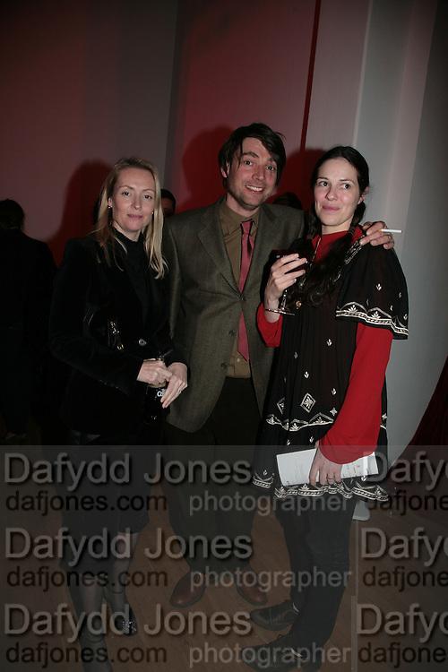 Deborah Vivian-Smith, Alex James and Clare James,  Whitechapel and Hogan present Art Pls Drama Party 2007. Whitechapel Gallery. London. 8 March 2007. -DO NOT ARCHIVE-© Copyright Photograph by Dafydd Jones. 248 Clapham Rd. London SW9 0PZ. Tel 0207 820 0771. www.dafjones.com.