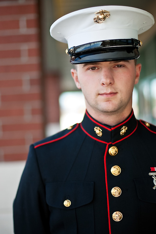 JEROME A. POLLOS/Press..Private Jacob Gray recently graduated basic training for the Marine Corps and is working as a combat engineer.