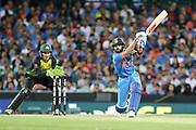 Virat Kohli hits out. T20 international, Australia v India. Sydney Cricket Ground, NSW, Australia, 25 November 2018. Copyright Image: David Neilson / www.photosport.nz