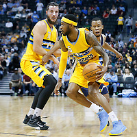 10 April 2016: Denver Nuggets forward Will Barton (5) drives past `Utah Jazz guard Rodney Hood (5) on a screen by Denver Nuggets center Joffrey Lauvergne (77) during the Utah Jazz 100-84 victory over the Denver Nuggets, at the Pepsi Center, Denver, Colorado, USA.