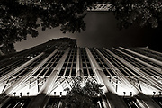 Abstract view of the Hearst Tower taken from North College St in Uptown Charlotte, North Carolina