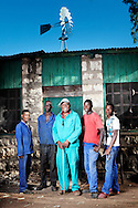 Tangeni Erkana (middle) fell in love with the farm the first time he saw it. He has a background as a high level government official but has made the change to farmer. He has 10 employees. Here he is with workers Willem Moses (left), George Tjerninanga, Mbakondja Tjitunga (far right) and Nandehari Tjiueza.