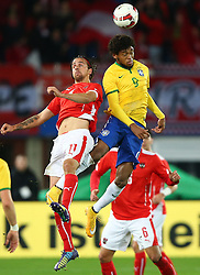 18.11.2014, Ernst Happel Stadion, Wien, AUT, Freundschaftsspiel, Oesterreich vs Brasilien, im Bild Martin Harnik (AUT) und Luiz Adriano (BRA) // during the friendly match between Austria and Brasil at the Ernst Happel Stadion, Vienna, Austria on 2014/11/18. EXPA Pictures © 2014, PhotoCredit: EXPA/ Thomas Haumer