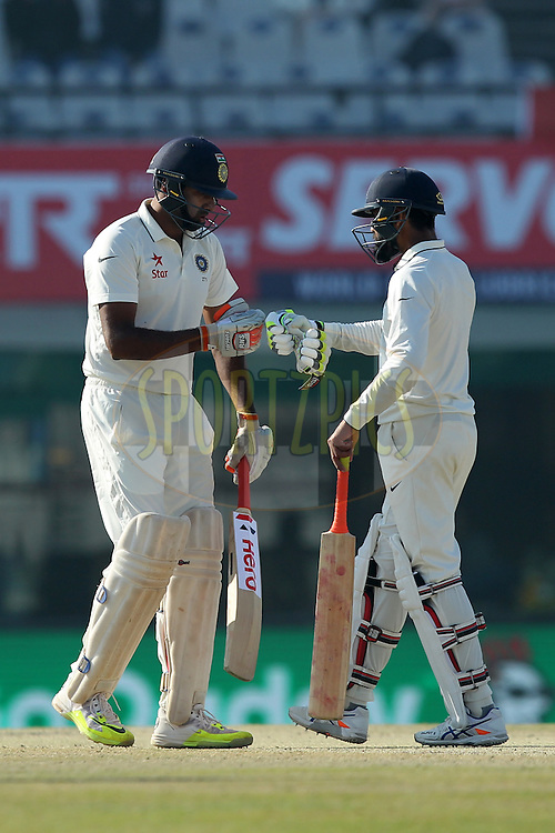 Ravichandran Ashwin and Ravindra Jadeja of India during day 3 of the third test match between India and England held at the Punjab Cricket Association IS Bindra Stadium, Mohali on the 28th November 2016.Photo by: Prashant Bhoot/ BCCI/ SPORTZPICS