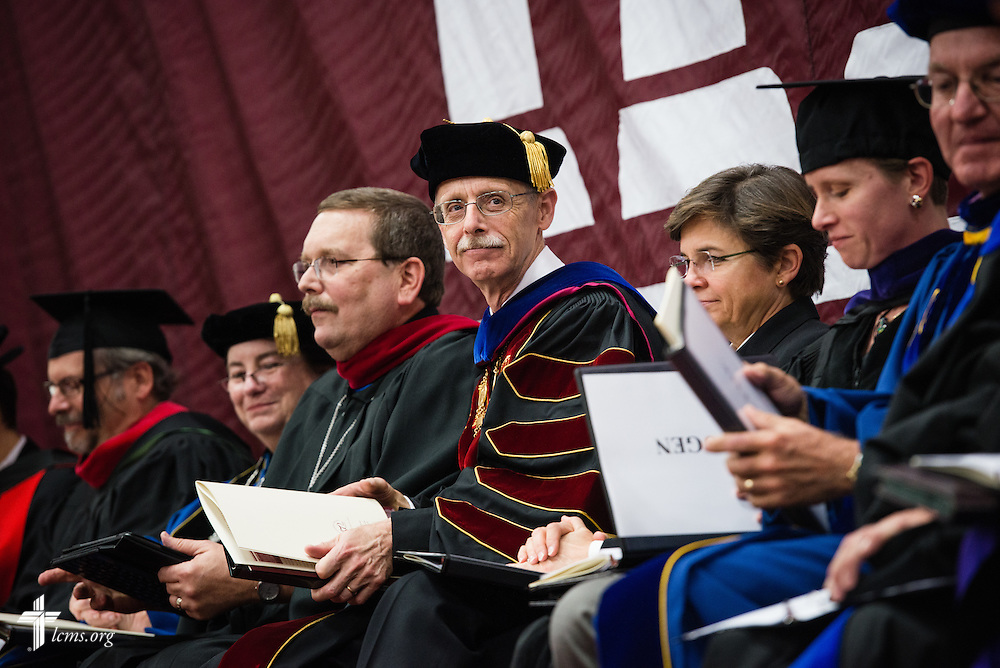 The Rev. Dr. Daniel Lee Gard, president of Concordia University Chicago, at his inauguration at the college in River Forest, Ill., on Friday, Oct. 10, 2014. LCMS Communications/Erik M. Lunsford