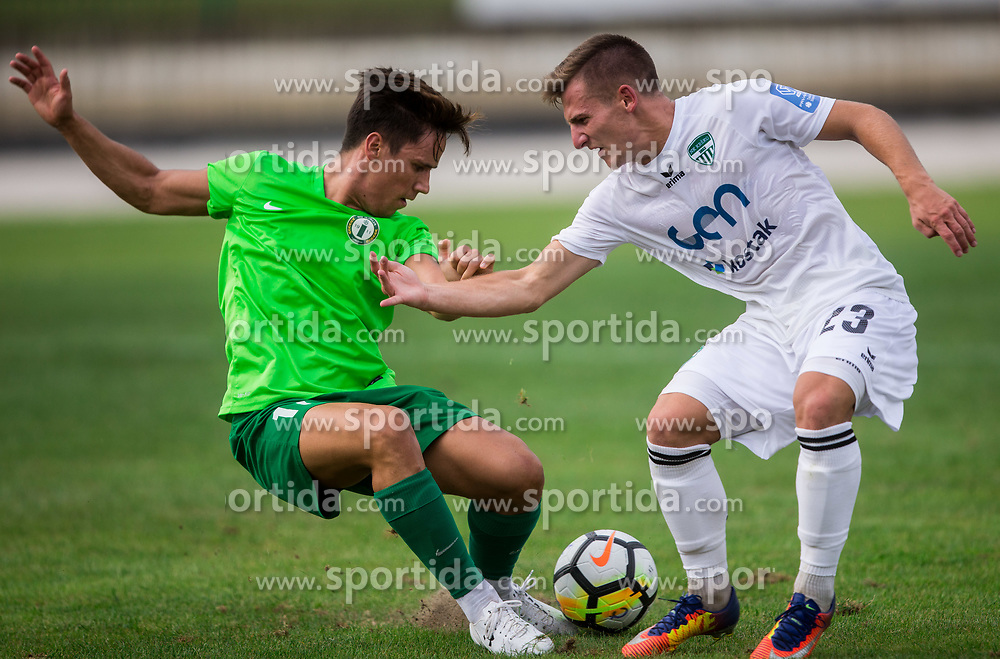 Matic Povh of ND Ilirija vs Klemen Sturm of NK Krsko during football match between ND Ilirija 1911 and NK Krsko in 1st Round of Slovenian Football Cup 2017/18, on August 16, 2017 in Stadium Ilirija, Ljubljana, Slovenia. Photo by Vid Ponikvar / Sportida