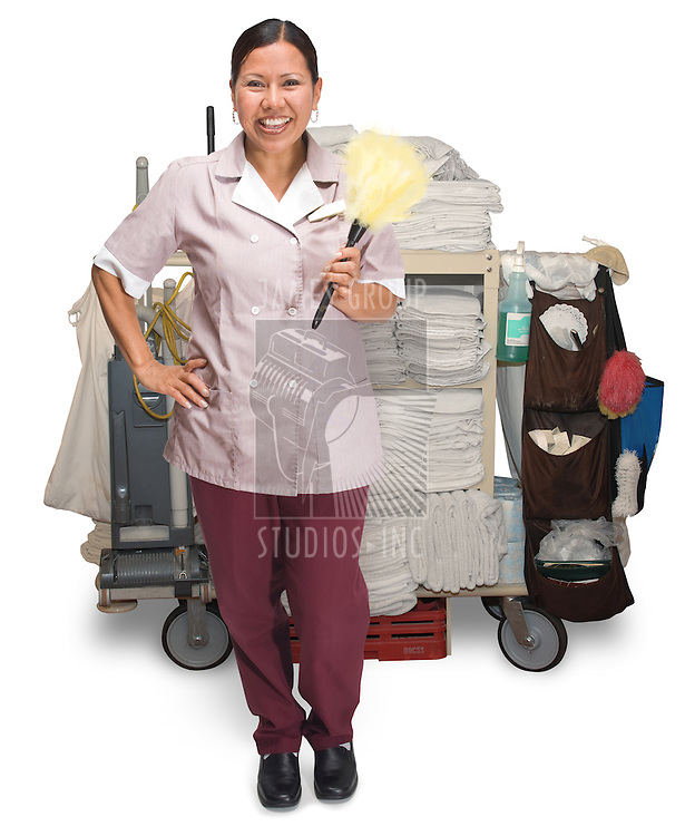 Female hotel maid with housekeeping cart isolated on a white background