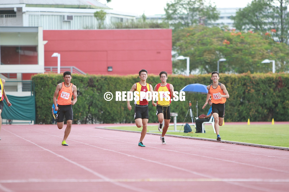 Bishan Stadium, Monday, April 25, 2016 &mdash; Joshua Lim of Anglo-Chinese School (Independent) clocked 22.35 seconds to claim the B Division Boys' 200 metres gold at the 57th National Schools Track and Field Championships.<br />