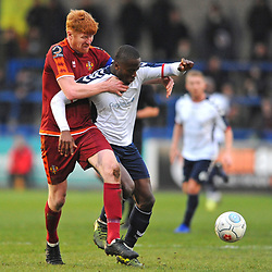 TELFORD COPYRIGHT MIKE SHERIDAN 5/1/2019 - Dan Udoh of AFC Telford is tackled in unorthodox fashion by James Curtis during the Vanarama Conference North fixture between AFC Telford United and Spennymoor Town.
