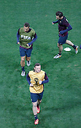 Wayne Rooney of England (bottom) leads Phil Jagielka and Leighton Baines during the England training session at Arena Corinthians, Sao Paulo, Brazil, on the eve of their World Cup 2014 Group D match against Uruguay.<br /> Picture by Andrew Tobin/Focus Images Ltd +44 7710 761829<br /> 18/06/2014