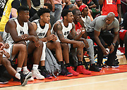 No Shnacks Guard, Deshon Taylor, sits on the bench during a Drew League basketball game, Saturday, June 8, 2019, in Los Angeles.  (Dylan Stewart/Image of Sport)