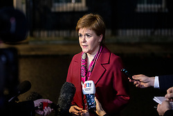 © Licensed to London News Pictures. 19/12/2018. London, UK. First Minister of Scotland Nicola Sturgeon speaks to media in Downing Street after meetings with British Prime Minister Theresa May. Photo credit : Tom Nicholson/LNP