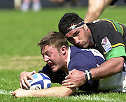 01/06/2002.Sport -Rugby  Union.Zurich Championship - Semi final.Bristol Shoguns_vs_Northampton Saints.David rees touch's down with Andrew Blowers failing to make the saving tackle (Try was dis-allowed}   [Mandatory Credit, Peter Spurier/ Intersport Images].