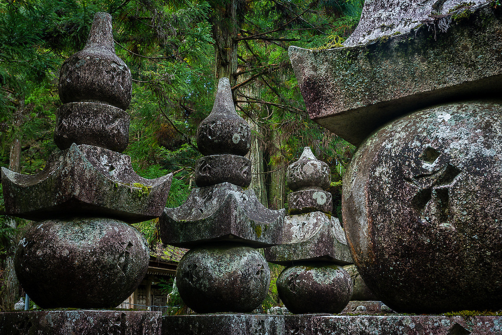 Okunoin cemetery at Koyasan is full of buddhist tombs, with shapes that represent the five elements of Earth, Water, Air, Fire, and Consciousness.