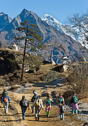 "School children walk towards Khumjung, in Sagarmatha National Park, Nepal, beneath Mount Everest (29,035 feet / 8850 meters elevation above sea level), the highest mountain on Earth. Mount Everest was first called Chomolungma or Qomolangma (""Goddess Mother of the Earth"" in Tibetan). In 1865, Andrew Waugh, the British surveyor-general of India named the mountain for his chief and predecessor, Colonel Sir George Everest. In the 1960s, the Government of Nepal named the mountain Sagarmatha, meaning ""Goddess of the Sky"". The mountain, which is part of the Himalaya range in High Asia, is located on the border between Nepal and Tibet, China. Sagarmatha National Park was created in 1976 and honored as a UNESCO World Heritage Site in 1979. Published in ""Light Travel: Photography on the Go"" book by Tom Dempsey 2009, 2010."