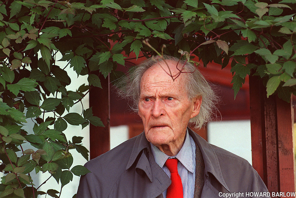 PIC BY HOWARD BARLOW..POET - RS THOMAS at his home on the LLYN PENINSULA.sept 97