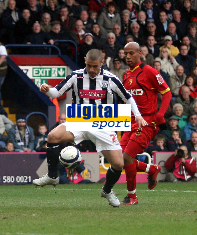 Photo: Mark Stephenson/Richard Lane Photography. <br /> West Bromwich Albion v Watford. Coca-Cola Championship. 12/04/2008. West vBrom's Kevin Phillips holds the ball up from Watfords Jordan Stewart