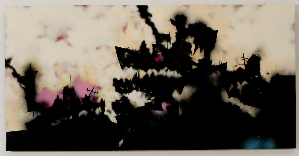 The Bone Yards. Painting by Ryan Nygard. Acrylic, spray paint, transfer lettering on MDF board
