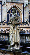 20th century statue of Roman Caesar erected at the Roman Baths in Bath, England