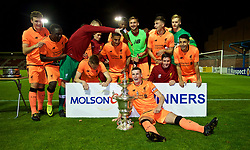 LEYLAND, ENGLAND - Friday, September 1, 2017: Liverpool's captain Corey Whelan with the trophy after beating Fleetwood Town on penalties to win the Lancashire Senior Cup Final match between Fleetwood Town and Liverpool Under-23's at the County Ground. (Pic by Propaganda)