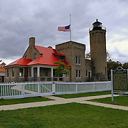&quot;Crossing Paths&quot;<br /> <br /> A beautiful view of the historic Old Mackinac Point Lighthouse.<br /> <br /> Lighthouses of the Great Lakes by Rachel Cohen