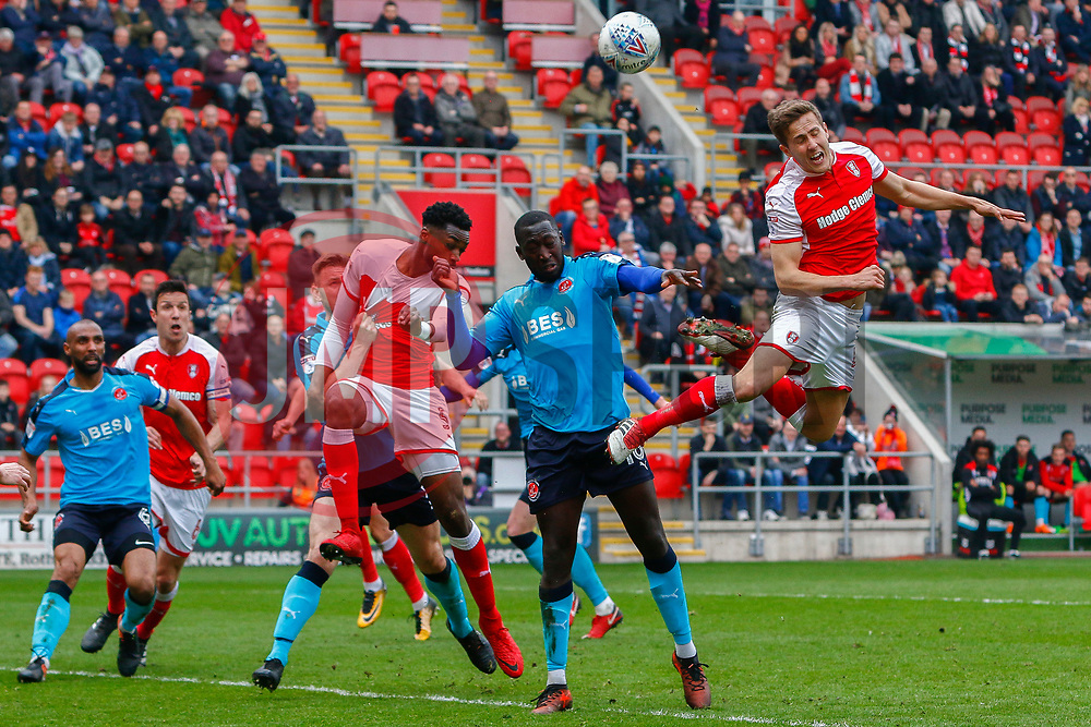 Will Vaulks of Rotherham United heads at goal - Mandatory by-line: Ryan Crockett/JMP - 07/04/2018 - FOOTBALL - Aesseal New York Stadium - Rotherham, England - Rotherham United v Fleetwood Town - Sky Bet League One