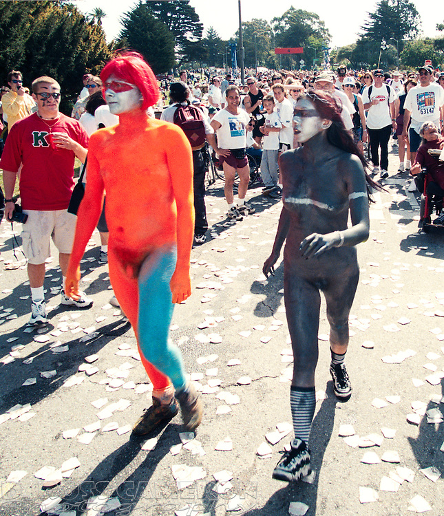 Unidentified naked people draw appreciative glances from the rest of the field at the 88th running of the Bay to Breakers 12K race, Sunday, May 16, 1999 in San Francisco. ((Photo by D. Ross Cameron)