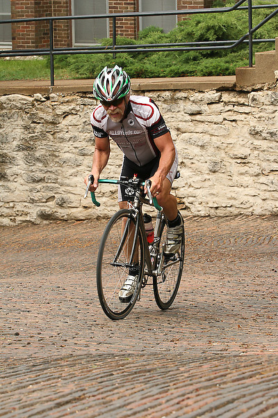 2007 Snake Alley Criterium, Masters 50+ and 60+ race. Burlington, Iowa.