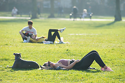 © Licensed to London News Pictures. 27/02/2019. Greenwich, Young lady sunbathing, People out and about in Greenwich Park,Greenwich this afternoon enjoying the February mini winter heatwave as the unseasonably warm weather continues. Photo credit: Grant Falvey/LNP