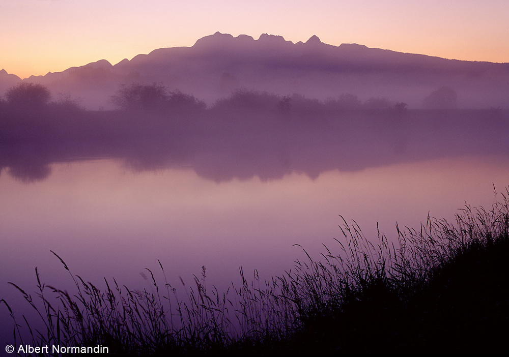Golden Ears mountains before sunrise with creek and mist