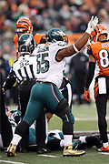 Philadelphia Eagles defensive end Brandon Graham (55) waves his arm as he celebrates after a fourth quarter Cincinnati Bengals fumble during the 2016 NFL week 13 regular season football game against the Cincinnati Bengals on Sunday, Dec. 4, 2016 in Cincinnati. The Bengals won the game 32-14. (©Paul Anthony Spinelli)