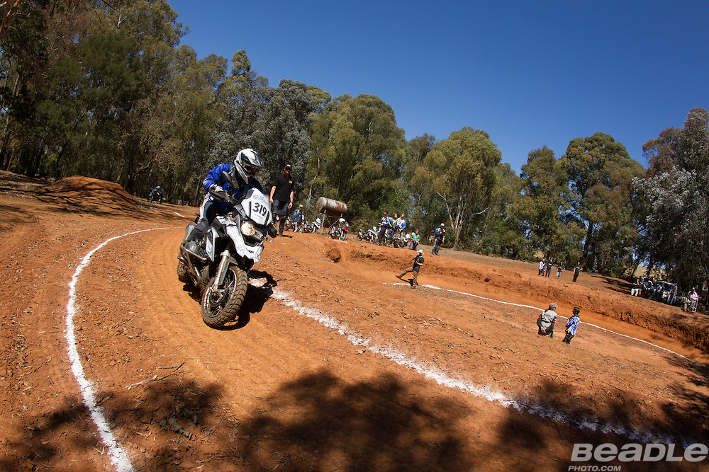 Amy Harburg from Australia participating in the inaugural GS Trophy Female qualifying event at the 2015 BMW Motorrad GS Trophy Female Team Qualifying Event held at Countrytrax Amersfoort, South Africa. Image by Greg Beadle