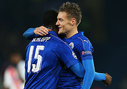 Jamie Vardy of Leicester City celebrates at full time with Jeffrey Schlupp - Mandatory by-line: Matt McNulty/JMP - 22/11/2016 - FOOTBALL - King Power Stadium - Leicester, England - Leicester City v Club Brugge - UEFA Champions League