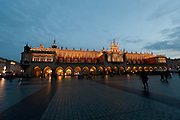 Cloth Hall and Market Square at dusk in winter, Krakow, Poland