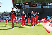 Lancashire Lightnings Keaton Jennings leads out Lancashire Lightning  during the Vitality T20 Blast North Group match between Lancashire Lightning and Derbyshire Falcons at the Emirates, Old Trafford, Manchester, United Kingdom on 26 August 2019.
