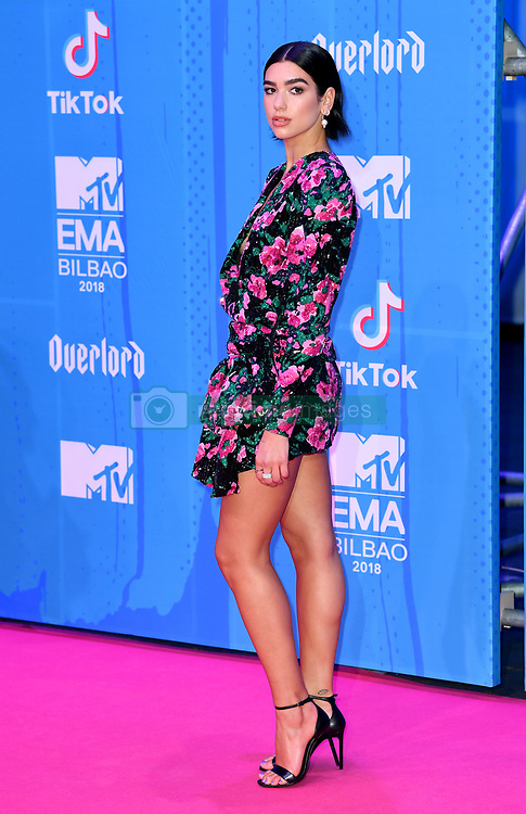 Dua Lipa attending the MTV Europe Music Awards 2018 held at the Bilbao Exhibition Centre, Spain