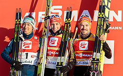 30.01.2016, Casino Arena, Seefeld, AUT, FIS Weltcup Nordische Kombination, Seefeld Triple, Siegerehrung, im Bild Akito Watabe (JPN, 2. Platz), Sieger Eric Frenzel (GER) und Fabian Riessle (GER, 3. Platz) // f.l.: 2nd placed Akito Watabe of Japan Winner Eric Frenzel of Germany and 3rd placed Fabian Riessle of Germany celebrate on Podium after the 2nd Day of the FIS Nordic Combined World Cup Seefeld Triple at the Casino Arena in Seefeld, Austria on 2016/01/30. EXPA Pictures © 2016, PhotoCredit: EXPA/ JFK