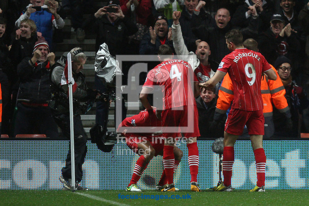 Picture by Daniel Chesterton/Focus Images Ltd +44 7966 018899.09/02/2013.Jason Puncheon of Southampton celebrates scoring his side's first goal during the Barclays Premier League match at the St Mary's Stadium, Southampton.