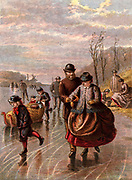 Ice skating on a frozen river. Kronheim chromolithograph from 'Pictures from Nature' by Mary Howitt (London, 1869).