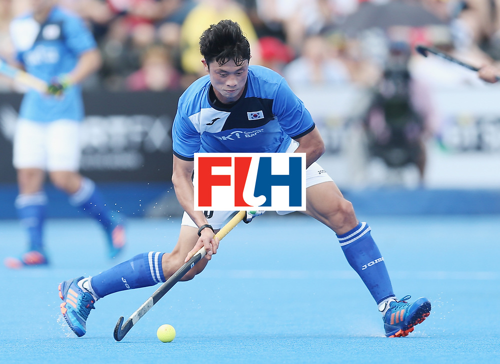 LONDON, ENGLAND - JUNE 17:  Jongsuk Bae of South Korea during the Hero Hockey World League semi final match between China and Korea at Lee Valley Hockey and Tennis Centre on June 17, 2017 in London, England.  (Photo by Alex Morton/Getty Images)