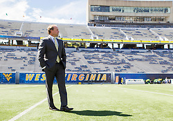 Sep 26, 2015; Morgantown, WV, USA; West Virginia Mountaineers head coach Dana Holgorsen stands on the field before their game against Maryland at Milan Puskar Stadium. Mandatory Credit: Ben Queen-USA TODAY Sports