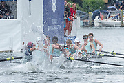 Henley Royal Regatta, 3-7 July 2019. Eton College, celebrate, after crossing  the Finish Line, to win, the Princess Elizabeth Challenge Cup, Royal Henley Peace Regatta Centenary, 1919-2019. Henley on Thames.<br /> <br /> <br /> <br /> [Mandatory Credit: Patrick WHITE/Intersport Images], 7, 07/07/2019,  12:35:32